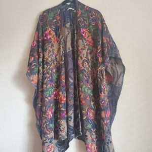 Soft Surroundings Embroidered Poncho Cape